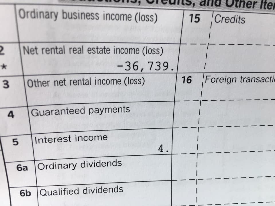 K1 tax form showing -$36,739 in passive losses