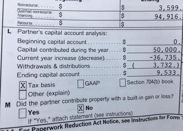 K1 form showing $50,000 capital contributed deducted by the -$36,735 in passive losses, resulting in $9,533 in capital gains